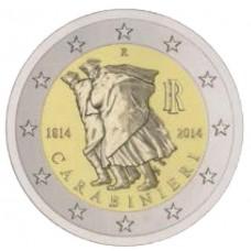 Италия, 2 евро, 200 лет Карабинерам, монета из ролла. Год: 2014