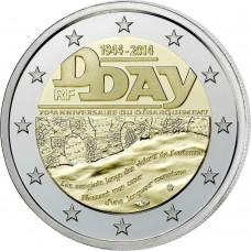 Франция, 2 евро, 70 лет со дня высадки в Нормандии, монета из ролла. Год: 2014