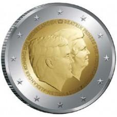 Нидерланды, 2 евро, Король Виллем-Александр и принцесса Беатрикс, монета из ролла. Год: 2014