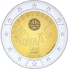 Португалия, 2 евро, 40 лет Революции гвоздик, монета из ролла. Год: 2014