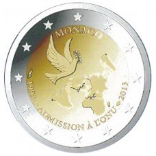 Монако, 2 евро, 20 лет со дня вступления Монако в ООН, монета из ролла. Год: 2013
