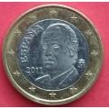 Испания, 1 евро, обращение. Год: 2011