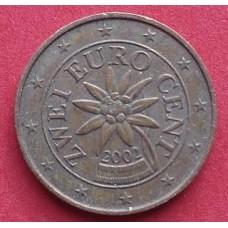 Австрия,   2 евроцента, обращение. Года: 2002, 2004