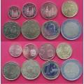 Испания, подборка евромонет 1 евроцент - 2 евро (8 монет), года: разнобой 2000-2013 из обращения