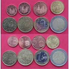 Подборка евромонет Испании 1 евроцент - 2 евро (8 монет), года: разнобой 2000-2013 из обращения