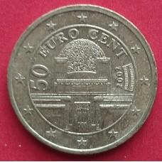 Австрия,  50 евроцентов, обращение. Год: 2002