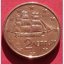 Греция, 2 евроцента, обращение. Года: 2008, 2015, 2016, 2017