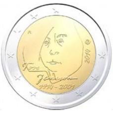 Финляндия, 2 евро, 100 лет со дня рождения Туве Янссон, монета из ролла. Год: 2014