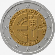 Словакия, 2 евро, 10 лет членству Словакии в ЕС, монета из ролла. Год: 2014