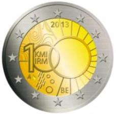 Бельгия, 2 евро, 100 лет Королевскому метеорологическому институту Бельгии, монета из ролла. Год: 2013
