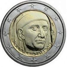 Италия, 2 евро, 700 лет со дня рождения Джованни Боккаччо, монета из ролла. Год: 2013
